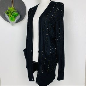 French Connection Brass Studded Deep V Cardigan XS